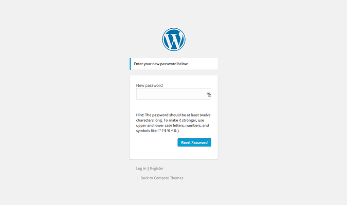 screenshot of the wordpress password registration page