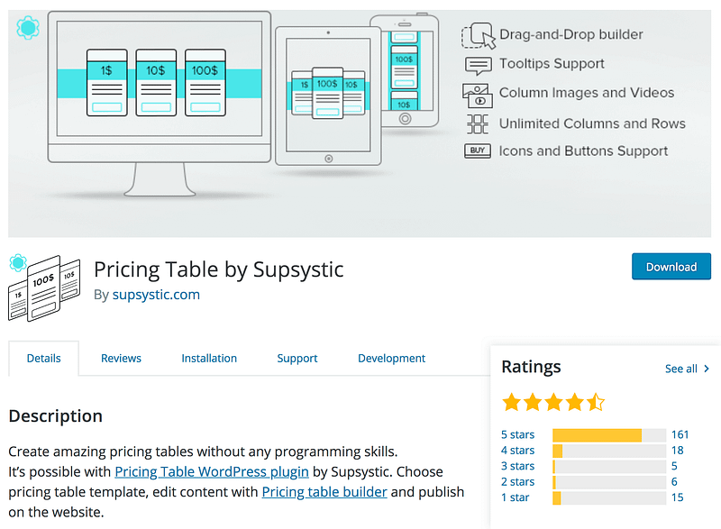 Pricing Table Supsystic