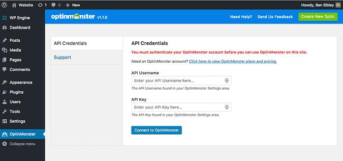 Screenshot from the OptinMonster plugin