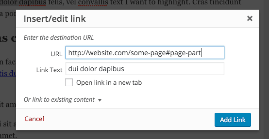 linking to a page part