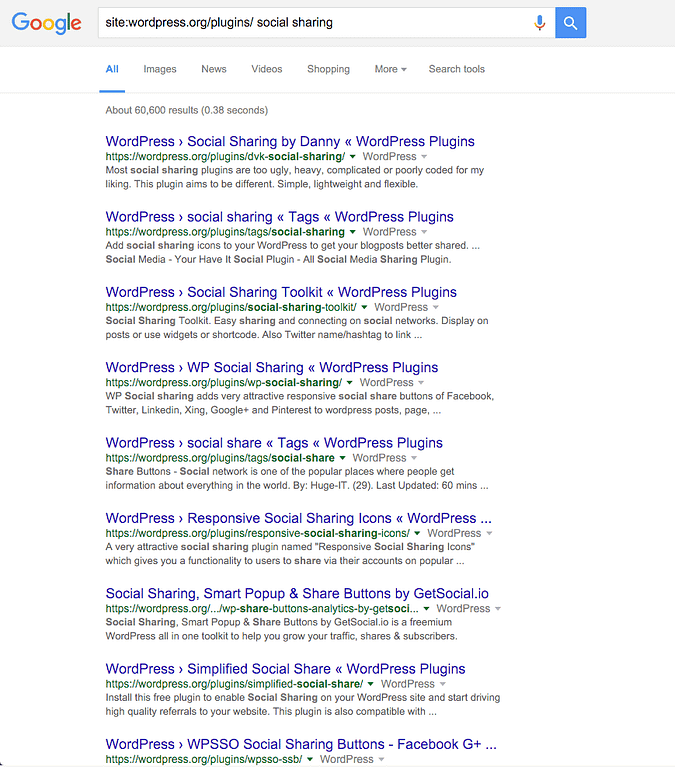 screenshot of Google search results after using search query
