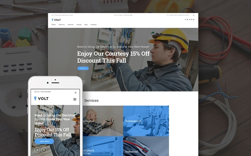 Volt Local Electrical Service WordPress Theme