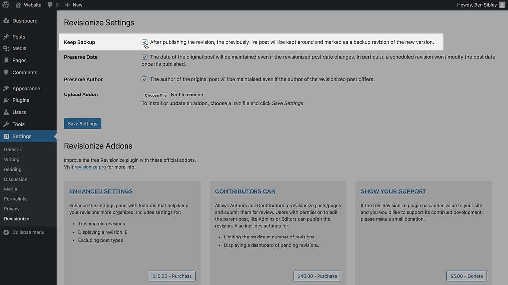 Revisionize's Keep Backup setting