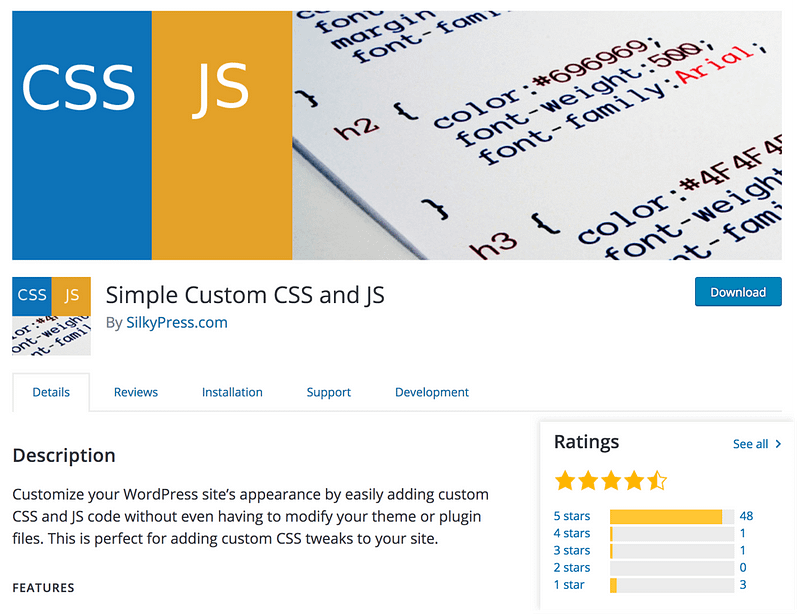 Simple Custom CSS & JS plugin