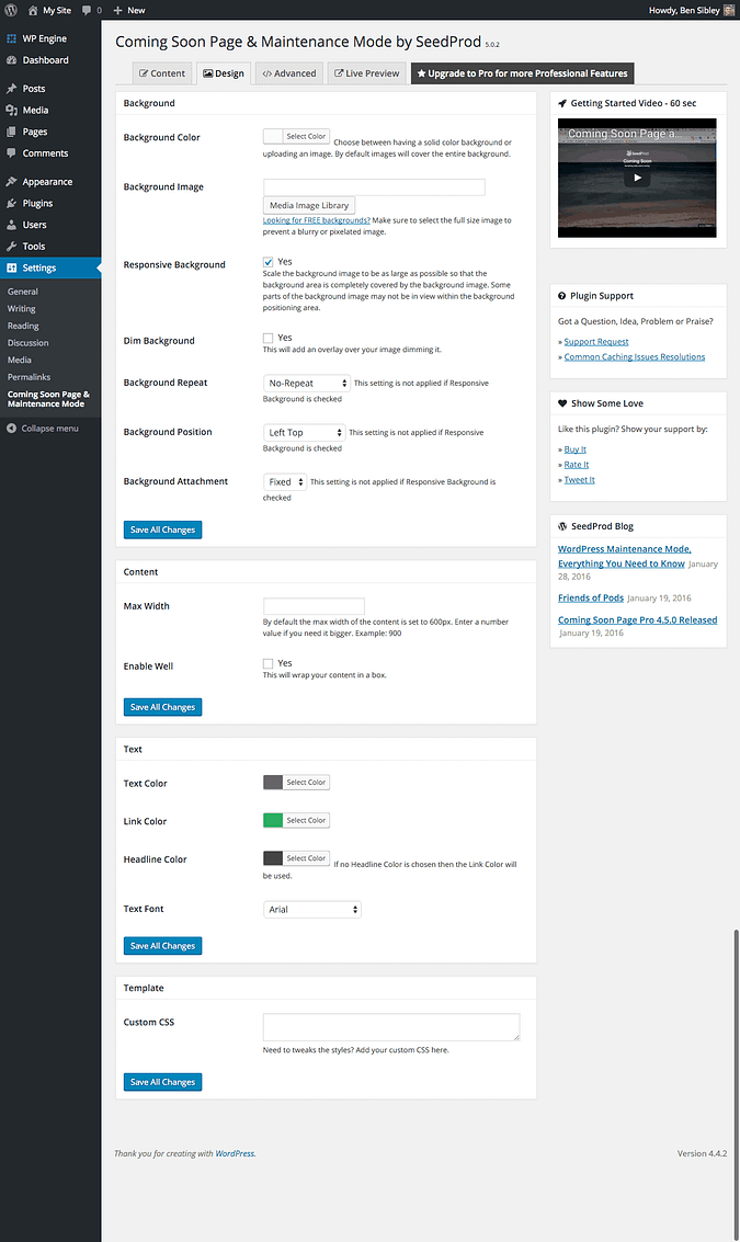 screenshot of the Design settings page