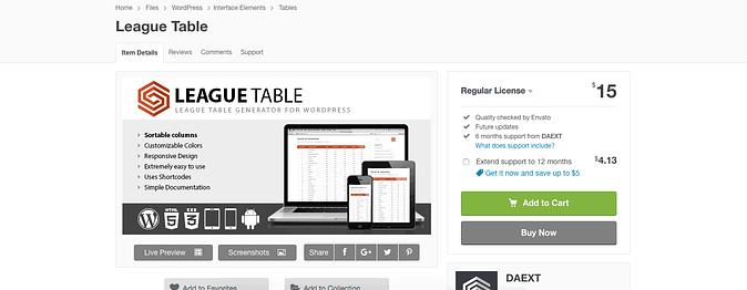 League Table plugin