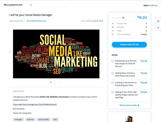 Example job page with MicrojobEngine