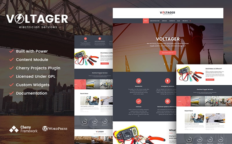 Voltager electrician services WordPress theme