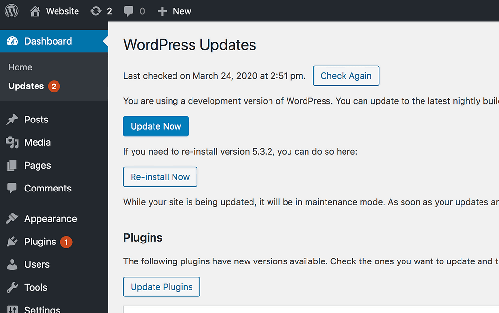 Wordpress Updates Menu
