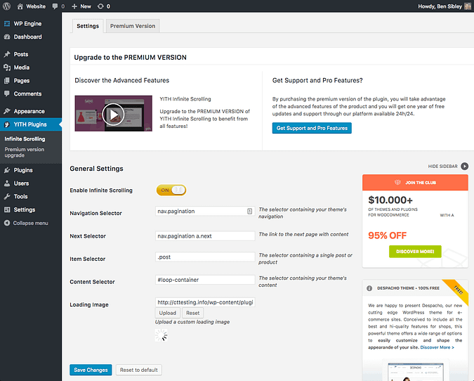 Screenshot of the YITH infinite scrolling settings menu