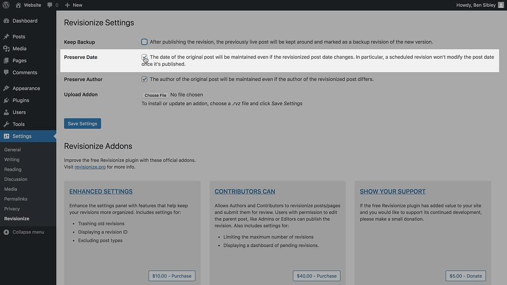 Screenshot of Revisionize's Preserve Date setting