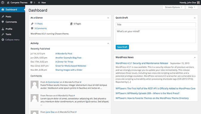 screenshot of wordpress dashboard when logged in as contributor
