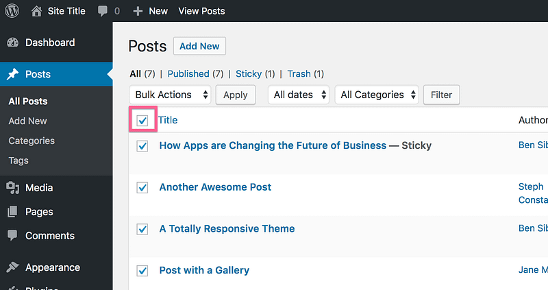 Select All Posts