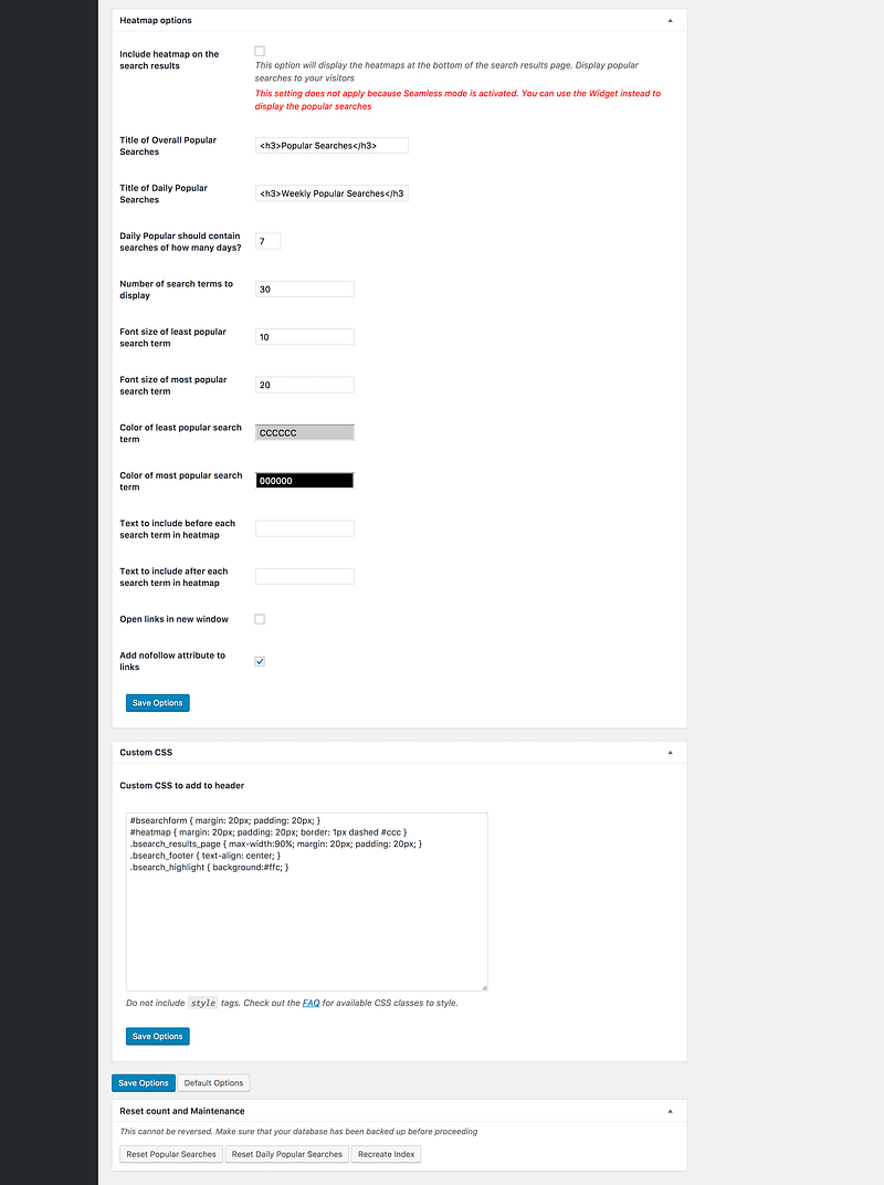 Better Search settings page