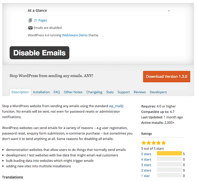 Disable Emails plugin