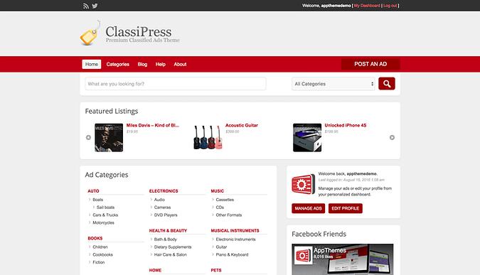 ClassiPress theme demo