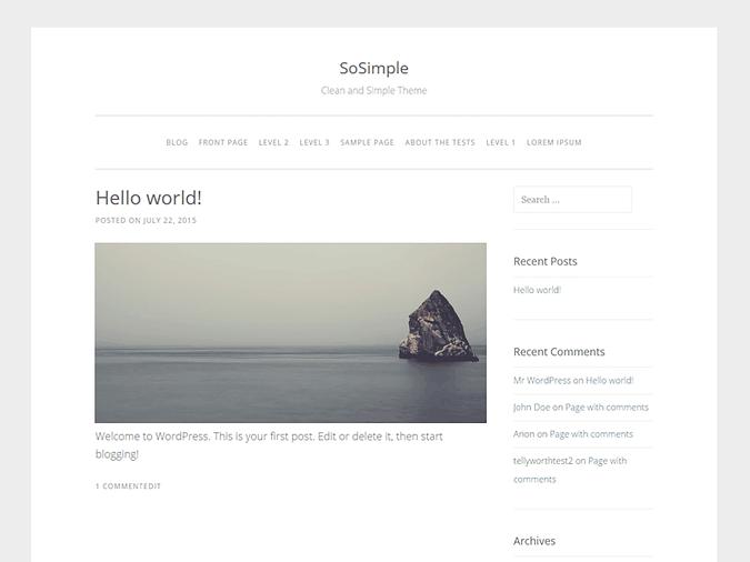 screenshot of the SoSimple theme
