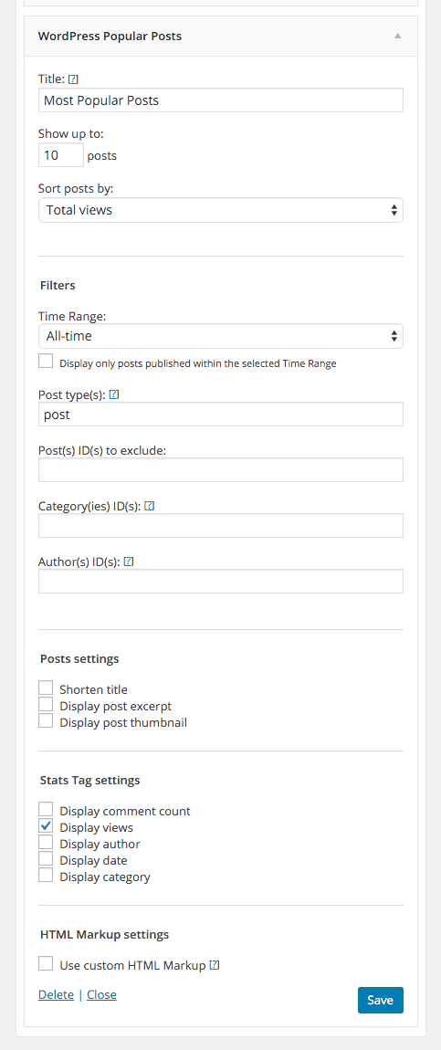 screenshot of Most Popular Posts of all Time settings