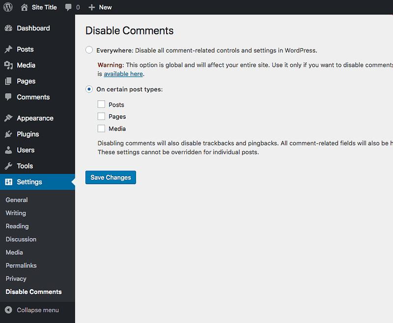 Deshabilitar configuración de comentarios