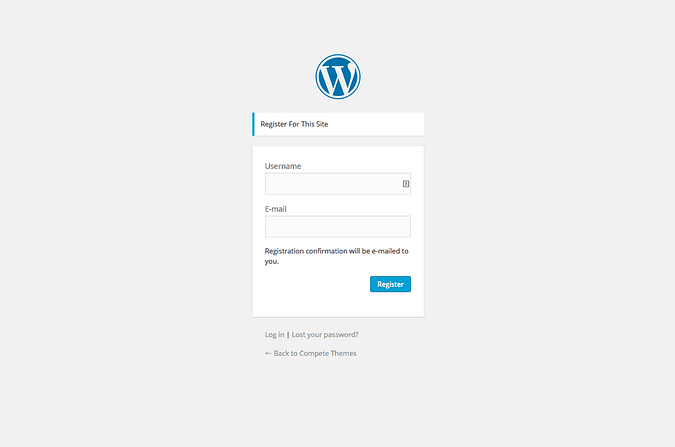 screenshot of the wordpress registration page
