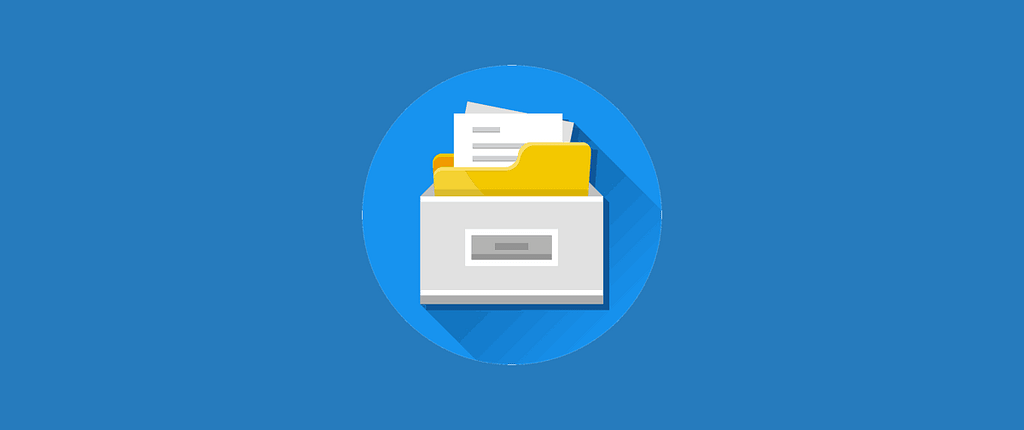Icon of documents in a file cabinet