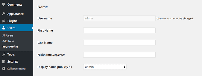 the various name options in the profile menu