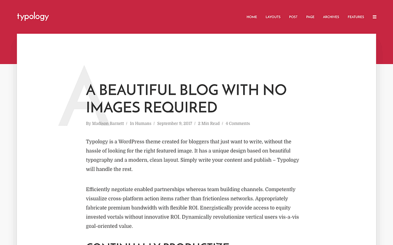 Typology minimalist blogging theme