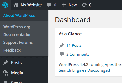 The About link in WordPress dashboards