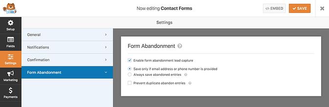 Form Abandonment settings panel