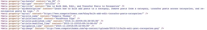 Facebook open graph tag meta elements