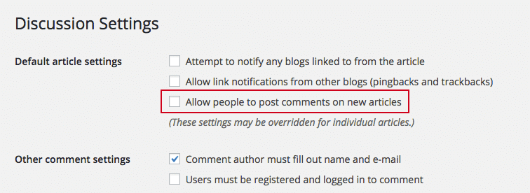 screenshot of WordPress Discussion Settings
