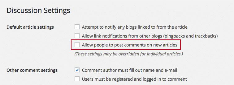 captura de pantalla de la configuración de discusión de WordPress