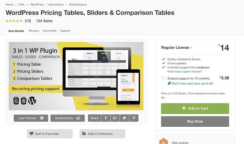 WordPress Pricing Tables