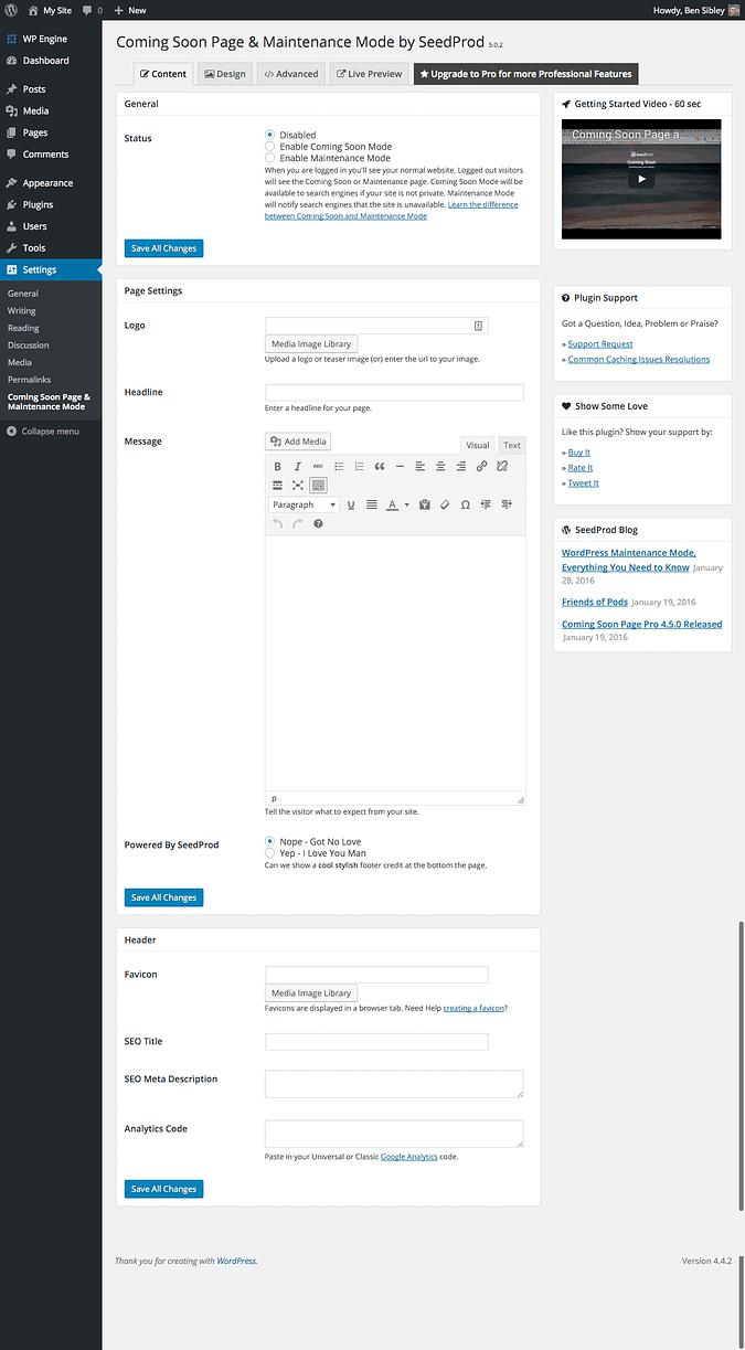 screenshot of the maintenance mode settings