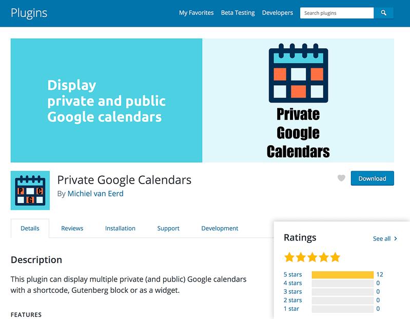 Private Google Calendars