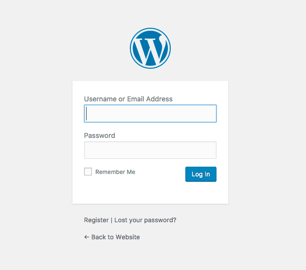 screenshot of the WordPress login form