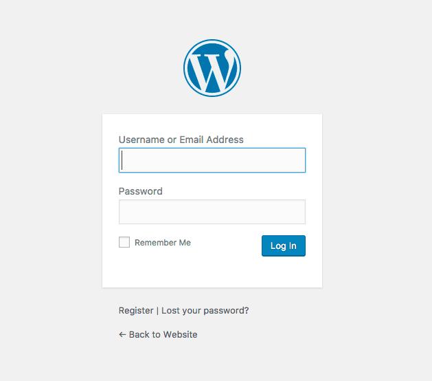 screenshot of the WordPress login form