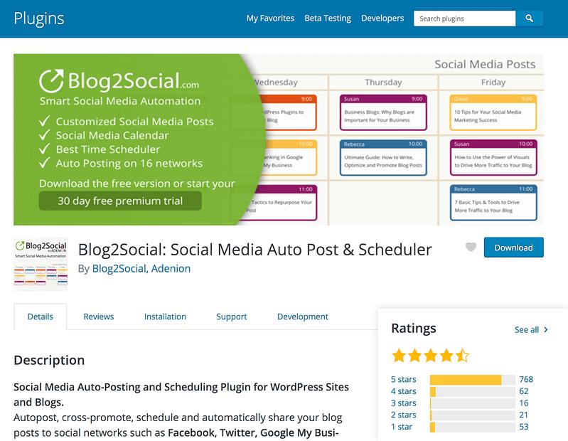 Blog2Social plugin