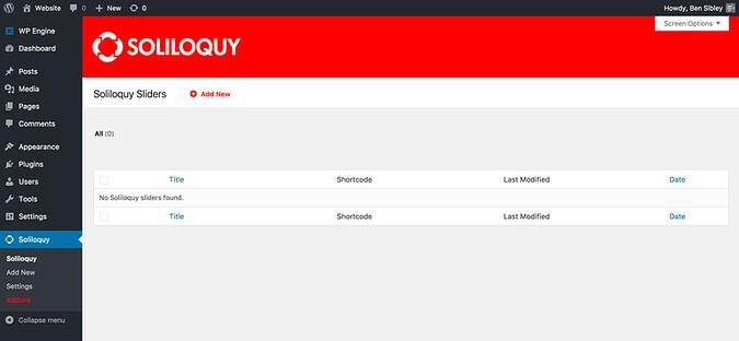 Screenshot of the slider menu in Soliloquy