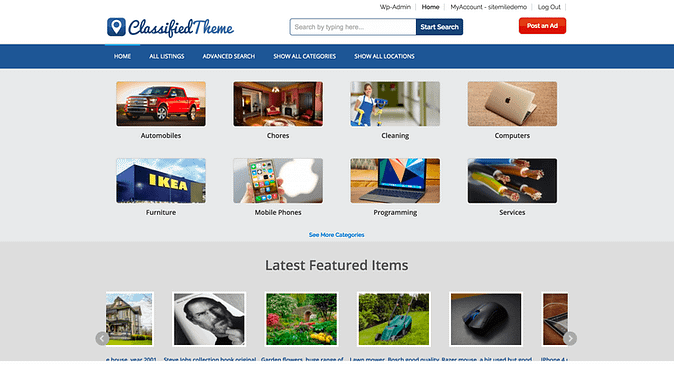 Screenshot of the WordPress Classified Ads theme demo