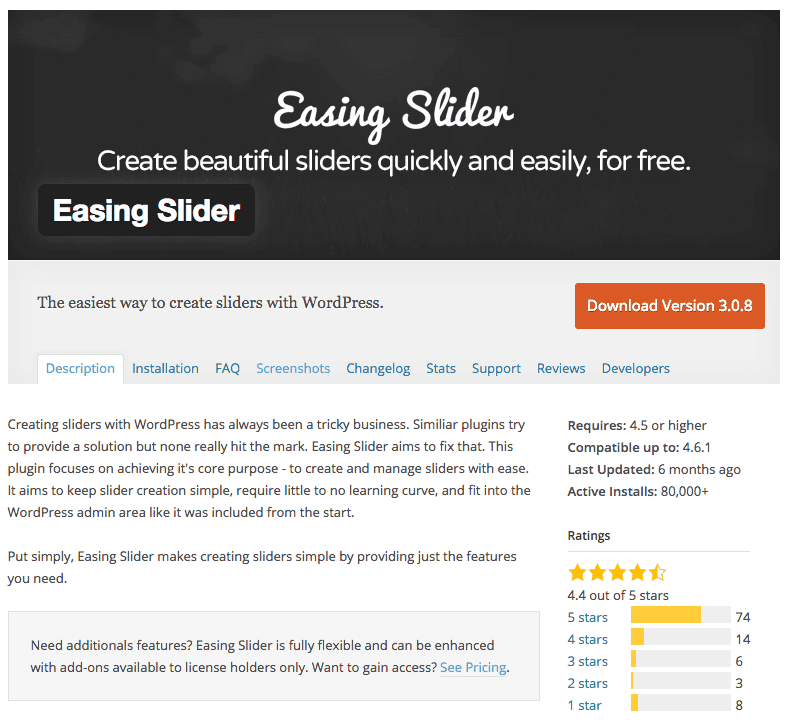 Easing Slider plugin