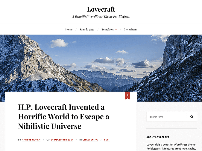 screenshot of the Lovecraft theme