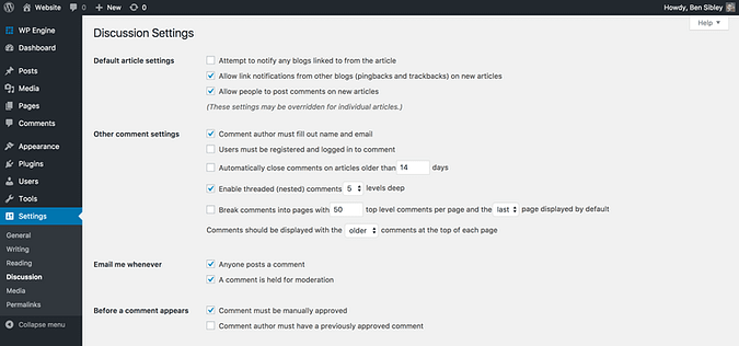 Discussion settings screenshot