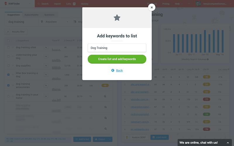 Saving a keyword list