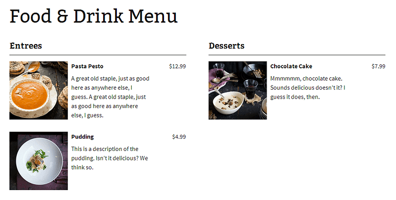 Food And Drink Menu