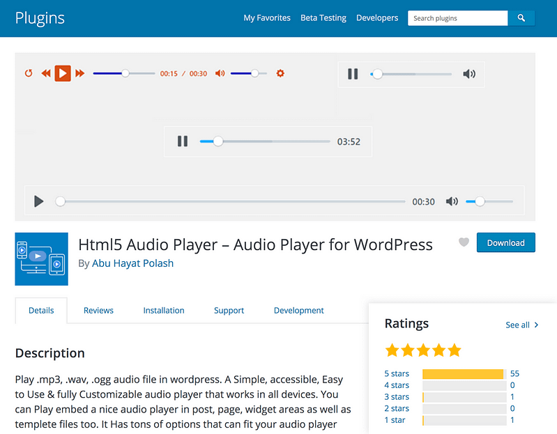 HTML5 Audio Player plugin
