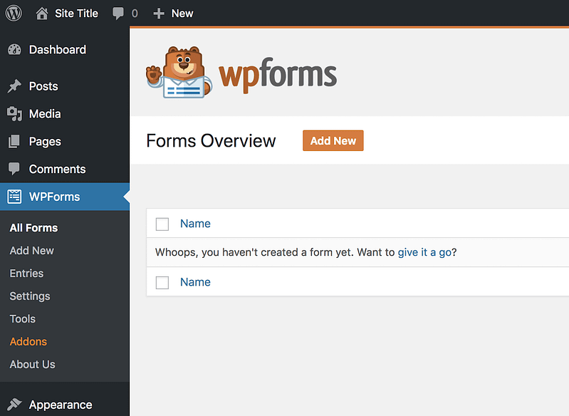WPForms Menu