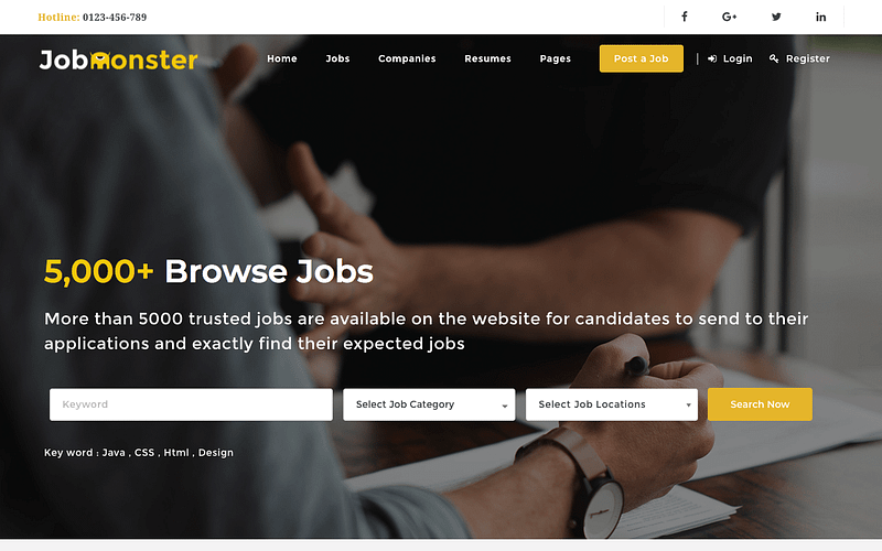 Jobmonster job board theme