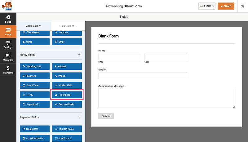 WP Forms File Upload
