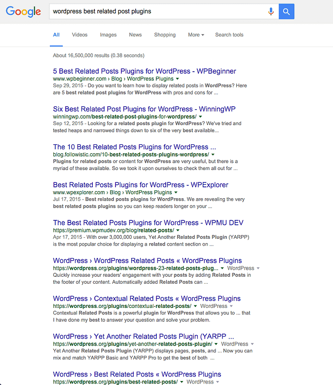 screenshot of Google query for a related posts plugin